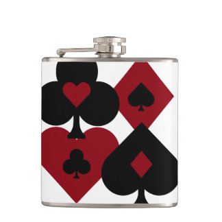Red & Black Poker Card Deck Suits Hip Flask