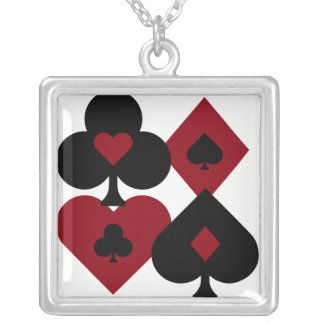 Red & Black Poker Card Deck Suits Silver Plated Necklace