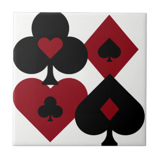 Red & Black Poker Card Deck Suits Tile