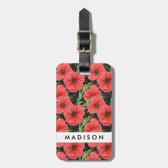 Red & Black Poppies Luggage Tag