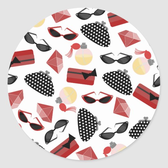Red & Black Purses Purfume & Sunglasses Sticker