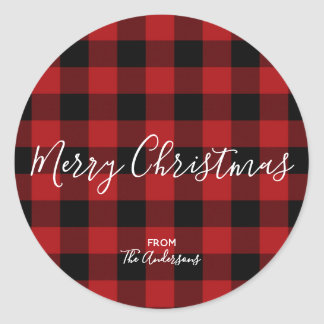 Red & Black Rustic Buffalo Gingham Plaid Holiday Classic Round Sticker