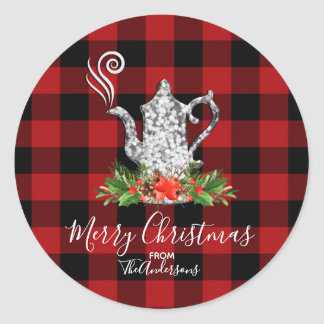 Red Black Rustic Buffalo Gingham Plaid Holiday Tea Classic Round Sticker