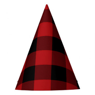 Red & Black Rustic Buffalo Plaid Birthday Party Party Hat