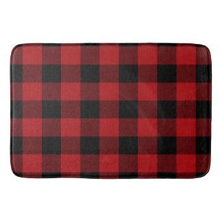Red Black Rustic Buffalo Plaid Checkered Bath Mat