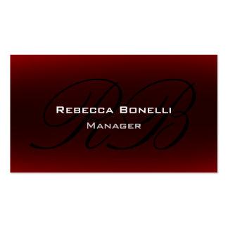 Red Black Script Monogram Manager Business Card