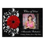 "Red/Black Scroll Gerbera Daisy Graduation 5"" X 7"" Invitation Card"