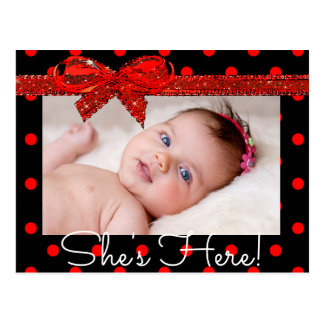 "Red Black  ""She's Here""  Birth Announcement Postcard"