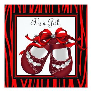 Red Black Shoes Red Zebra Baby Girl Shower Invite