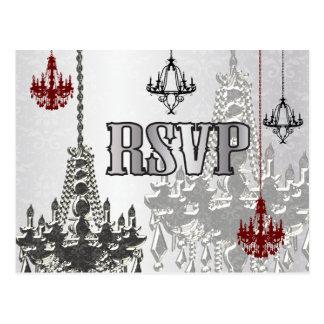 Red, Black & Silver Chandelier RSVP Postcards