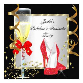"RED Black Silver Women's Birthday Party 5.25"" Square Invitation Card"