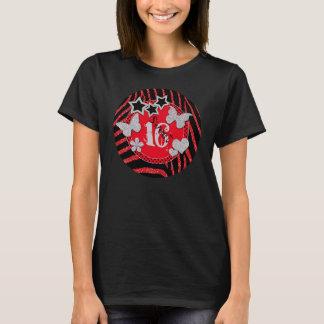 Red Black Silver Zebra Glitter Sweet 16 T-Shirt