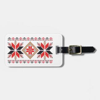 Red & Black Snowflakes Pattern Luggage Tag