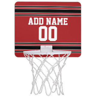 Red Black Sports Jersey with Your Name & Number Mini Basketball Backboard