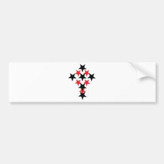 red-black star cross bumper sticker