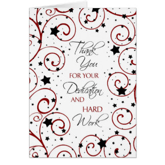 Red Black Stars Employee Anniversary Card