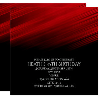 Red & Black Streaks Birthday Party Invitation