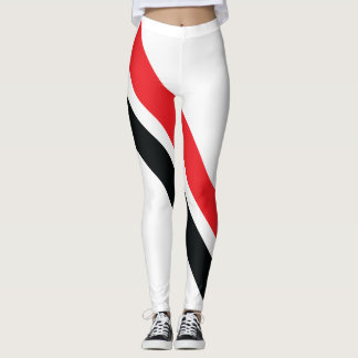 Red/Black Stripes on White Leggings 1