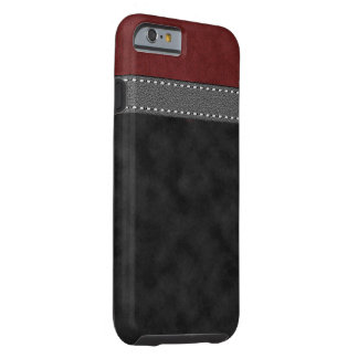 Red Black Suede Grey Leather Stitched Strap Print Tough iPhone 6 Case