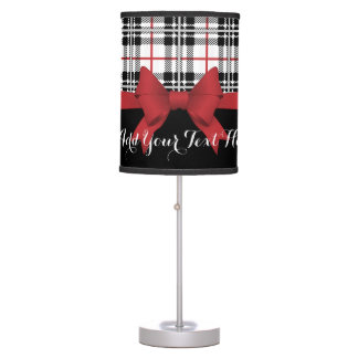 Red Black Tartan Pattern and Ribbon Cute Modern Table Lamp