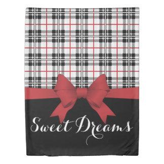 Red Black Tartan Pattern and Ribbon Girly Cute Duvet Cover