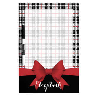 Red Black Tartan Plaid and Ribbon Cute Kids Custom Dry Erase Boards