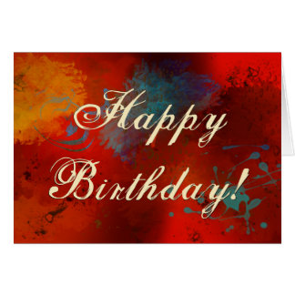 Red, Black, Teal & Gold Abstract Birthday Message Card