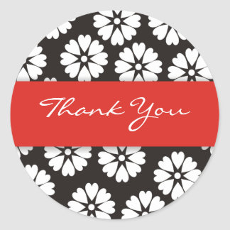 Red & Black Thank You Stickers
