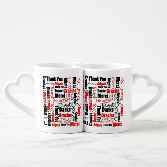 Red Black Thank You Word Cloud Coffee Mug Set