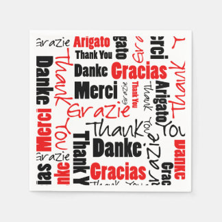 Red Black Thank You Word Cloud Disposable Napkin