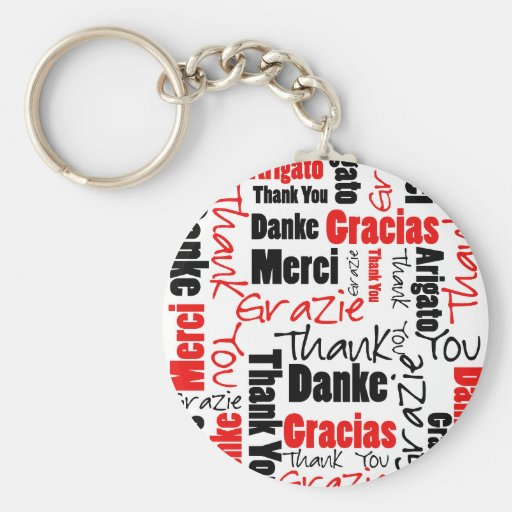 Red Black Thank You Word Cloud Key Chains