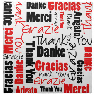 Red Black Thank You Word Cloud Printed Napkin