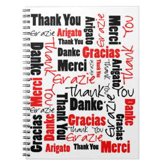 Red Black Thank You Word Cloud Spiral Notebooks