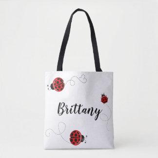 Red Black Three Ladybug Polka Dot Bug Beetles Name Tote Bag