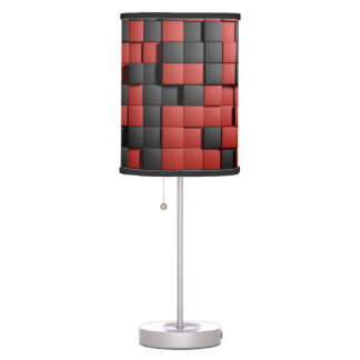 Red black tiles table lamp