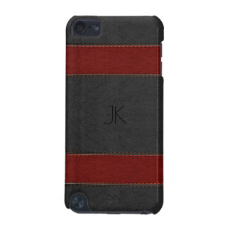 Red & Black Vintage Leather Stripes iPod Touch (5th Generation) Case