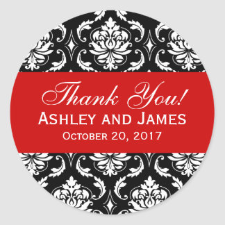 Red, Black Wedding Damask Thank You Label Round Sticker