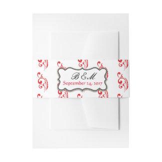 Red & Black Wedding Invitation Wrap Invitation Belly Band