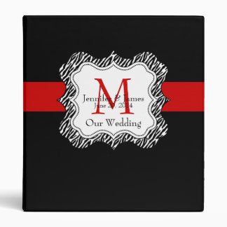 Red Black Wedding Planner Binders Zebra Print
