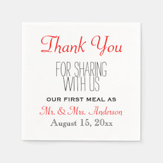Red Black Wedding Thank You Reception Typography Disposable Napkin
