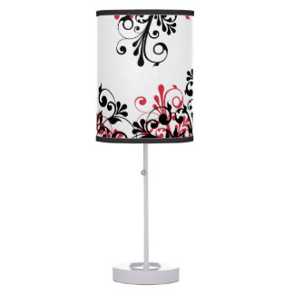 Red Black White Abstract Floral Table Lamps