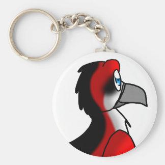 Red Black White Bird Hybrid Keychain