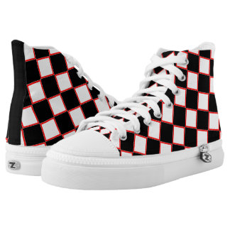 Red Black White Checkered High Tops