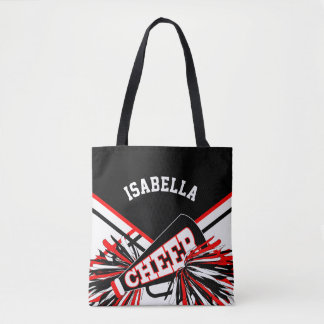 Red, Black & White Cheerleader Design Tote Bag