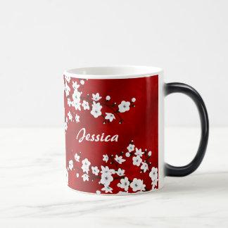 Red Black White Cherry Blossoms Monogram Magic Mug