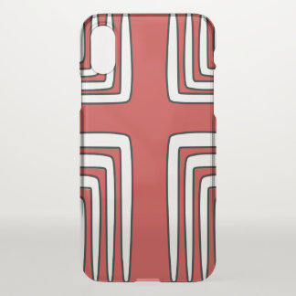 Red Black White Cross iPhone X Case