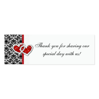 Red Black White Damask Joined Hearts Favor Tag 2 Pack Of Skinny Business Cards
