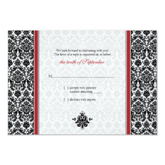 Red, Black, White Damask Wedding Reply Card