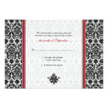 Red, Black, White Damask Wedding Reply Card Invite