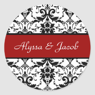 Red Black White Damask Wedding Wedding V4 Classic Round Sticker